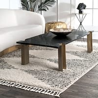 nuLOOM Off White Moroccan Boho Chic Aztec Lined Shag Tassel Area Rug - 5' 3 x 7' 7