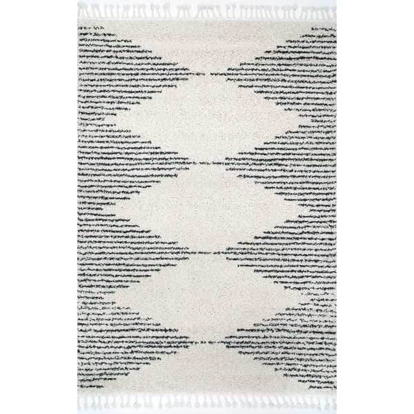 Nuloom Moroccan Boho Chic Aztec Lined Tel Rug