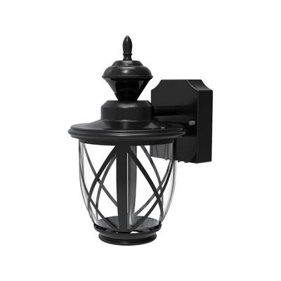 Heath Zenith Black Metal Motion Activated Carriage Lantern Dusk to Dawn LED 120 volts 100 watts