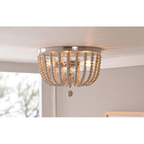 Zander 3 Light Flush Mount - Brushed Steel with Distressed White Wood Beads