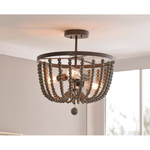 Zander Semi Flush Mount - Golden Bronze with Gray Wood Beads