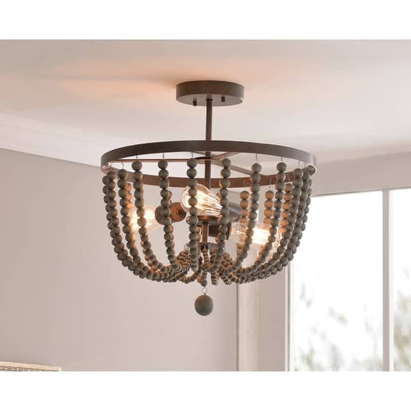 Shop Zander Semi Flush Mount Golden Bronze With Gray Wood