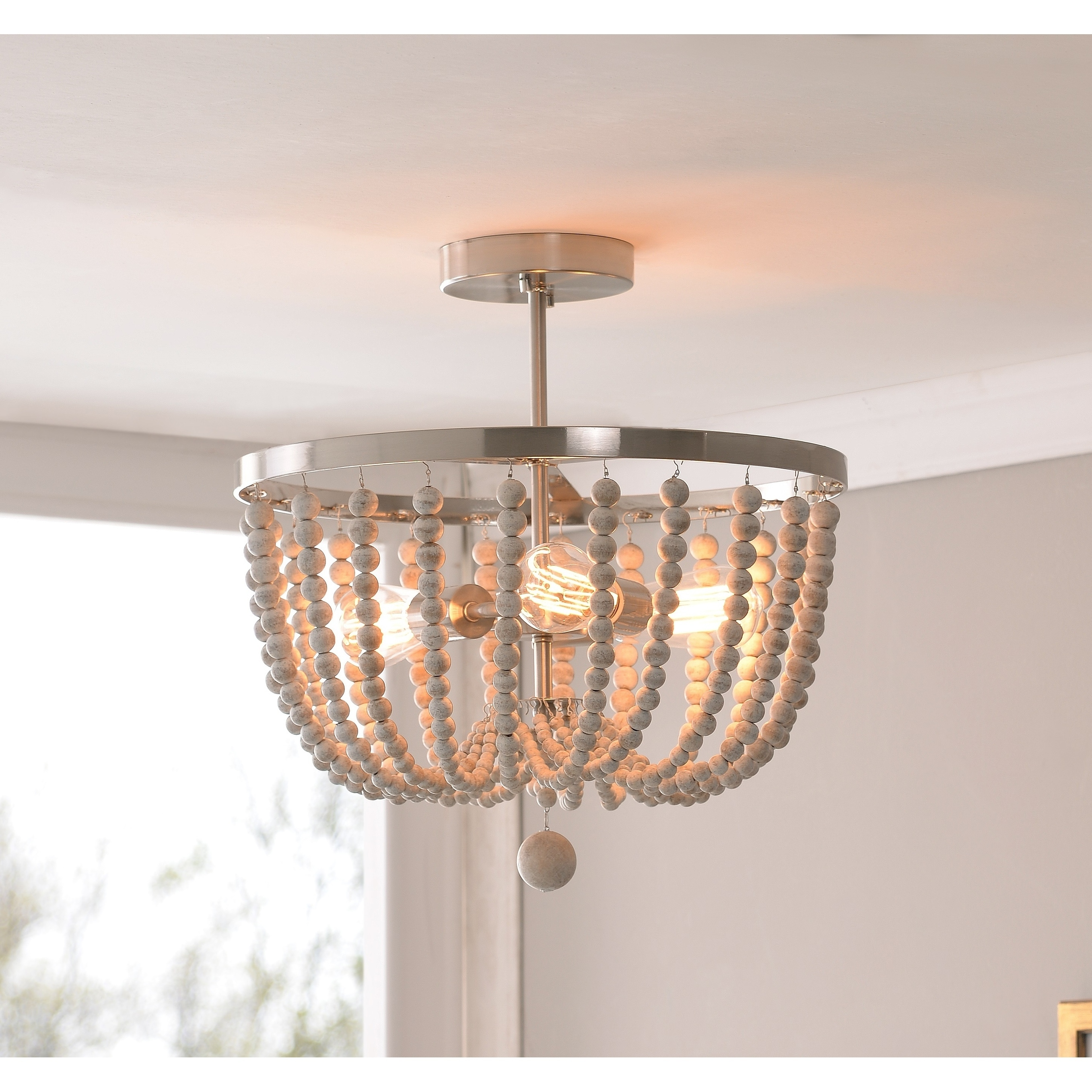 Zander Semi Flush Mount Brushed Steel With Distressed White Wood Beads