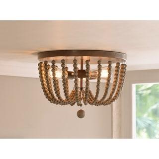 Zander 3 Light Flush Mount - Golden Bronze with Gray Wood Beads