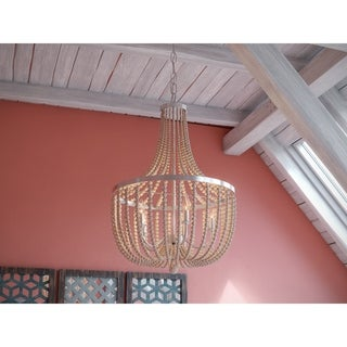 Link to Zander 5 Light Chandelier - Brushed Steel with White Wood Beads Similar Items in Chandeliers