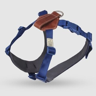 Sputnik Uniquely Crafted Large Dog Harness No Pull and Step In with Leather Accents, Blue