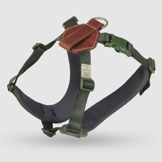 Sputnik Uniquely Crafted Large Dog Harness No Pull and Step In with Leather Accents, Green