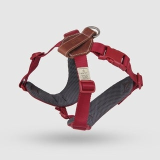 Sputnik Uniquely Crafted Medium Dog Harness No Pull and Step In with Leather Accents, Red