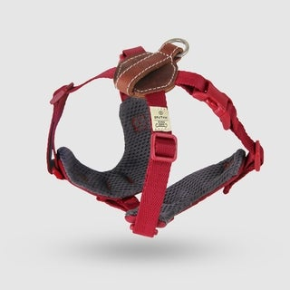 Sputnik Uniquely Crafted Small Plus Dog Harness No Pull and Step In with Leather Accents, Red