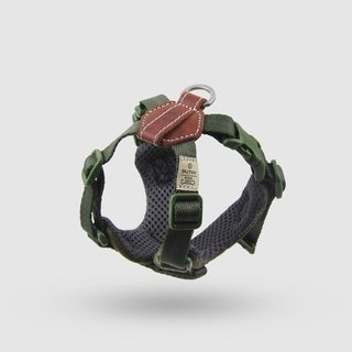 Sputnik Uniquely Crafted Small Dog Harness No Pull and Step In with Leather Accents, Green