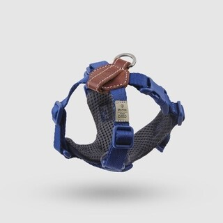Sputnik Uniquely Crafted Small Dog Harness No Pull and Step In with Leather Accents, Blue