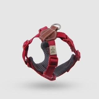 Sputnik Uniquely Crafted Small Dog Harness No Pull and Step In with Leather Accents, Red