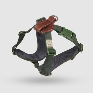 Sputnik Uniquely Crafted Medium Dog Harness No Pull and Step In with Leather Accents, Green