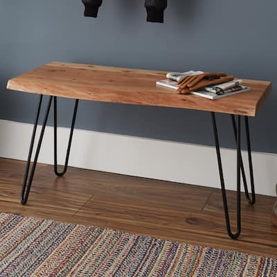 Carbon Loft Czuchry Natural Live Edge Brown Acacia Wood Hairpin Bench