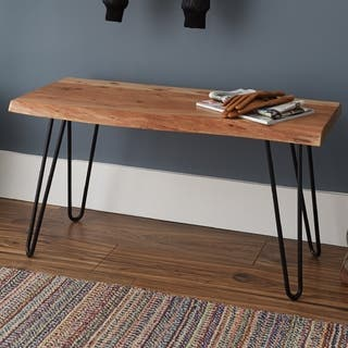 d928360851c51 Natural Live Edge Brown Acacia Wood Metal Hairpin Bench