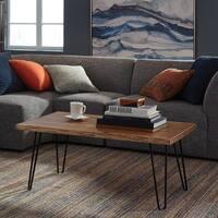 Natural Acacia Wood and Metal Live Edge Hairpin Coffee Table