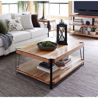 Ryegate Natural Live Edge Solid Acacia Wood Large Coffee Table
