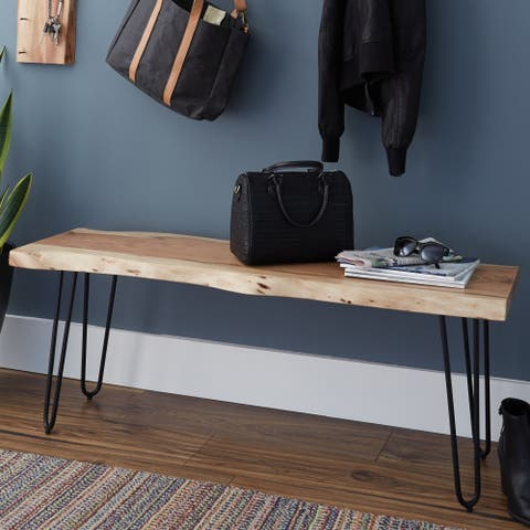 Hairpin Natural Live Edge Wood and Metal 48-inch Bench