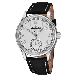 Alpina Men's AL-710S4E6 'Alpiner' Silver Dial Brown Leather Strap Swiss Automatic Watch
