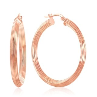 La Preciosa Sterling Silver Italian Rose Gold Plated or Gold Plated 37mm Design Hoop Earrings