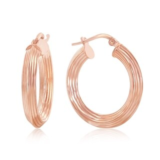 La Preciosa Sterling Silver Italian Rose Gold Plated or Gold Plated 23mm Design Hoop Earrings