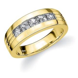 Amore 18K Yellow Gold 0.75 CTTW 5 Stone Princess Cut Men's Diamond Ring