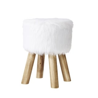 Poly and Bark Yvette White Faux Fur Stool