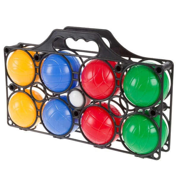 Beginner Bocce Ball Set with 8 Colorful Bocce Balls, Pallino and Carrying Case- Hey! Play!