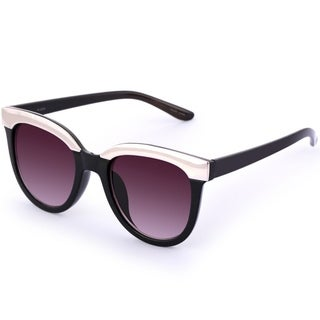 Kathy Ireland Women's Black Iconic Silver Cateye Sunglasses