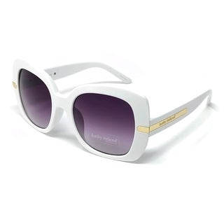 Kathy Ireland Women's Oversized White Sunglasses with Gold Hardware