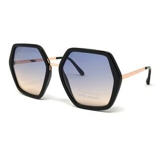 Kathy Ireland Women's Geometric Black frame with Rose Gold Sunglasses