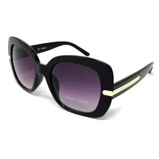 Kathy Ireland Women's Oversized Black Sunglasses with Gold Hardware