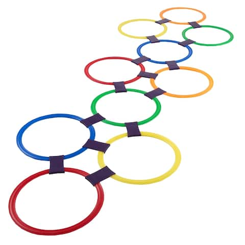 "Hopscotch Ring Game-10 Multi-Colored Plastic Rings and 15 Connectors Hey! Play! - 11"" Rings"