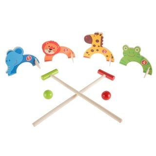 Kids Animal Croquet Set- Mini Croquet Playset with 4 Wooden Zoo Animal Design Wickets and 2 Mallets Hey! Play!