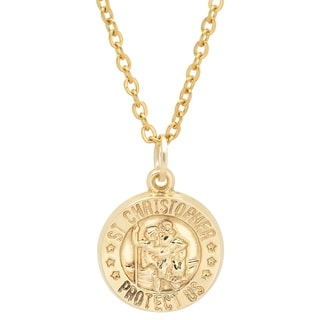 Pori Jewelers 14K Solid Gold Saint Christopher Religious Medallion Pendant Necklace