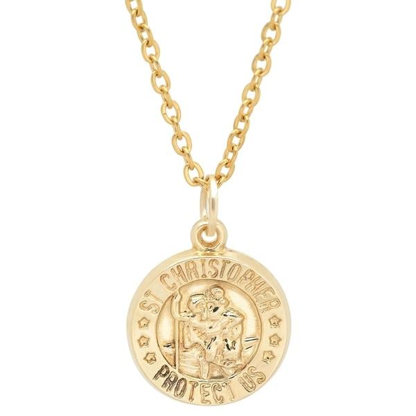 shop pori jewelers 14k solid gold saint christopher. Black Bedroom Furniture Sets. Home Design Ideas
