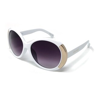 Kathy Ireland Women's Oval White with Gold Accent frame Sunglasses