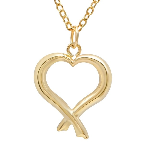 8d8209b4f Shop Pori Jewelers 14K Solid Gold Open Heart Pendant Necklace - On ...