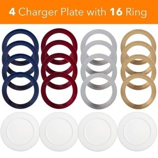 Magical Metalic Charger Plate Set Gold Silver Red Blue Set of 20 for 4 Person