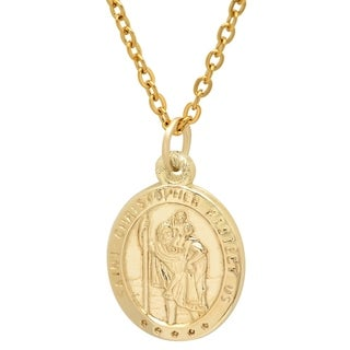 Pori Jewelers 14K Solid Gold Oval Saint Christopher Religious Medallion Pendant Necklace