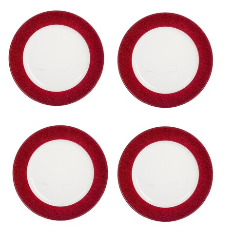 "4 Pack Metallic Red 13"" Heavy Duty Plastic Charger Plate"