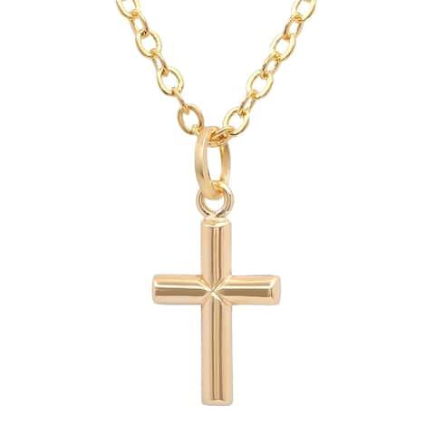 Pori Jewelers 14K Solid Gold Tiny Cross Pendant Necklace
