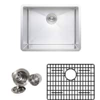Wells Sinkware New Chef's Collection Handcrafted 23-inch 16-gauge Undermount Single Bowl Stainless Steel Kitchen Sink Package