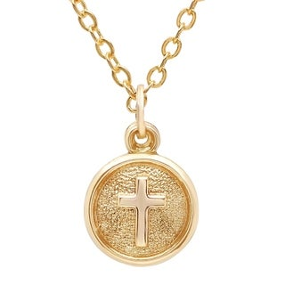 Pori Jewelers 14K Solid Gold Circle Disc Cross Pendant Necklace
