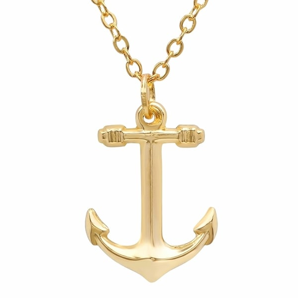 Shop Pori Jewelers 14k Solid Gold Anchor Pendant Necklace On Sale
