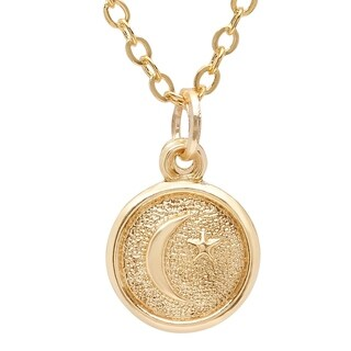 Pori Jewelers 14K Solid Gold Circle Disc Star & Moon Pendant Necklace