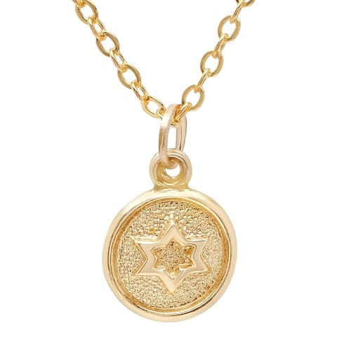Pori Jewelers 14K Solid Gold Circle Disc Star Pendant Necklace