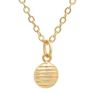 Pori Jewelers 14K Solid Gold Ridged Disc Pendant Necklace