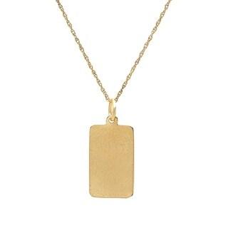 Pori Jewelers 14K Solid Gold Engravable Plain Tag Pendant Chain Necklace