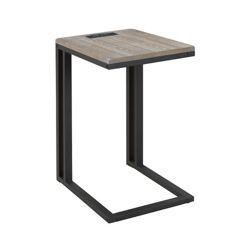 Soho C-table with Charging Station in Drift Wood